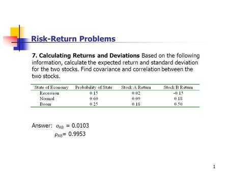 Risk-Return Problems 7. Calculating Returns and Deviations Based on the following information, calculate the expected return and standard deviation for.