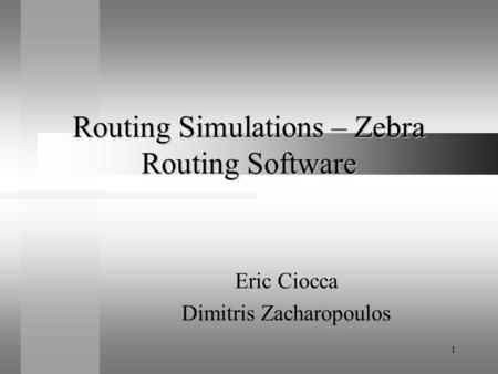 1 Routing Simulations – Zebra Routing Software Eric Ciocca Dimitris Zacharopoulos.