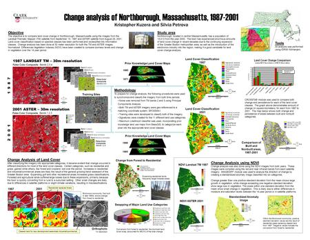 Change analysis of Northborough, Massachusetts, 1987-2001 Kristopher Kuzera and Silvia Petrova 1987 LANDSAT TM – 30m resolution False Color Composite Bands.