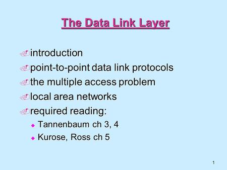 1 The Data Link Layer  introduction  point-to-point data link protocols  the multiple access problem  local area networks  required reading:  Tannenbaum.