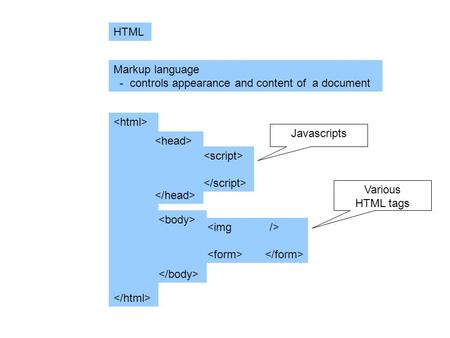 HTML Markup language - controls appearance and content of a document Javascripts Various HTML tags.