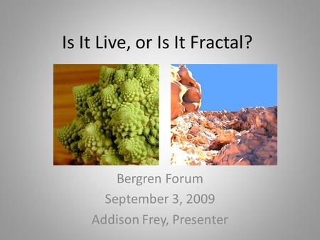 Is It Live, or Is It Fractal? Bergren Forum September 3, 2009 Addison Frey, Presenter.