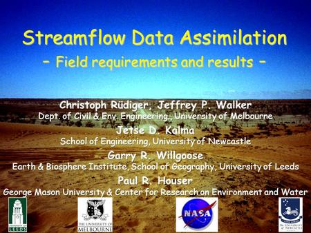 1 Streamflow Data Assimilation - Field requirements and results -