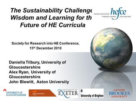 Daniella Tilbury, University of Gloucestershire Alex Ryan, University of Gloucestershire John Blewitt, Aston University Society for Research into HE Conference,