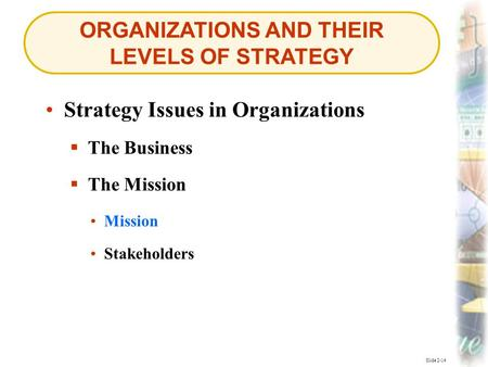 ORGANIZATIONS AND THEIR LEVELS OF STRATEGY Slide 2-14 Strategy Issues in Organizations  The Business  The Mission Mission Mission Stakeholders.