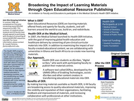 Broadening the Impact of Learning Materials through Open Educational Resource Publishing An invitation to Faculty and Educators to participate in the Medical.