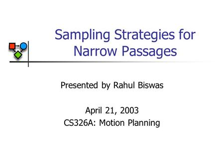 Sampling Strategies for Narrow Passages Presented by Rahul Biswas April 21, 2003 CS326A: Motion Planning.