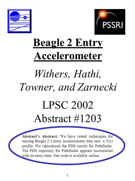 1 Beagle 2 Entry Accelerometer Withers, Hathi, Towner, and Zarnecki LPSC 2002 Abstract #1203 Abstract's Abstract: We have tested techniques for turning.