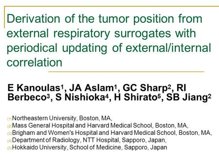 Derivation of the tumor position from external respiratory surrogates with periodical updating of external/internal correlation E Kanoulas 1, JA Aslam.