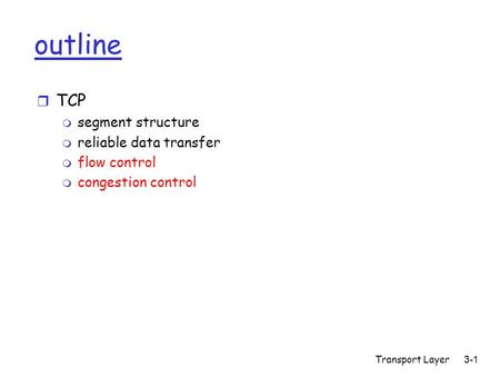 Transport Layer 3-1 outline r TCP m segment structure m reliable data transfer m flow control m congestion control.