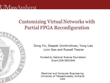 Customizing Virtual Networks with Partial FPGA Reconfiguration