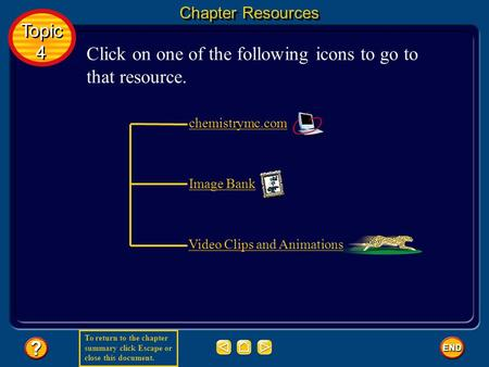 To return to the chapter summary click Escape or close this document. Chapter Resources Click on one of the following icons to go to that resource. Topic.
