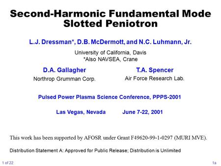 Second-Harmonic Fundamental Mode Slotted Peniotron Pulsed Power Plasma Science Conference, PPPS-2001 Las Vegas, NevadaJune 7-22, 2001 This work has been.