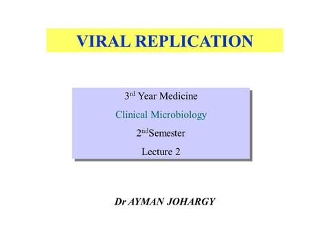 VIRAL REPLICATION Dr AYMAN JOHARGY 3 rd Year Medicine Clinical Microbiology 2 nd Semester Lecture 2 3 rd Year Medicine Clinical Microbiology 2 nd Semester.