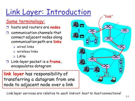 5-1 Link Layer: Introduction Some terminology: r hosts and routers are nodes r communication channels that connect adjacent nodes along communication path.