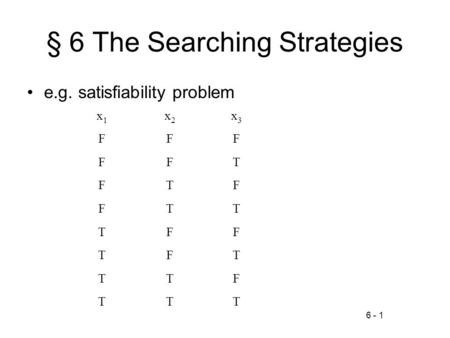 6 - 1 § 6 The Searching Strategies e.g. satisfiability problem x1x1 x2x2 x3x3 FFF FFT FTF FTT TFF TFT TTF TTT.