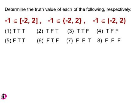 Determine the truth value of each of the following, respectively: -1  [-2, 2], -1  {-2, 2}, -1  (-2, 2) (1) T T T (2) T F T (3) T T F (4) T F F (5)