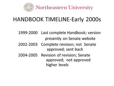 HANDBOOK TIMELINE-Early 2000s 1999-2000Last complete Handbook; version presently on Senate website 2002-2003Complete revision; not Senate approved; sent.
