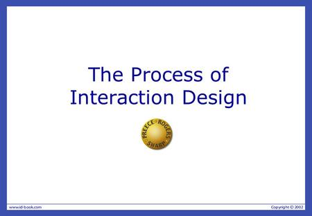 The Process of Interaction Design. Overview What is Interaction Design? —Four basic activities —Three key characteristics Some practical issues —Who are.
