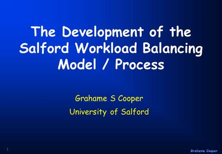 Grahame Cooper 1 The Development of the Salford Workload Balancing Model / Process Grahame S Cooper University of Salford.