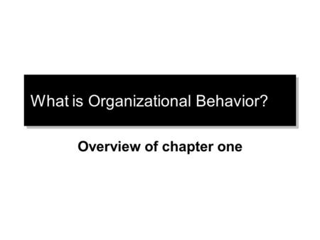 What is Organizational Behavior? Overview of chapter one.