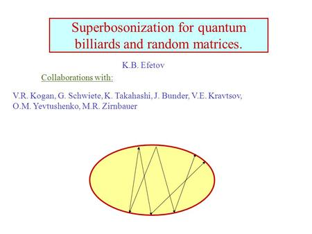 Superbosonization for quantum billiards and random matrices. V.R. Kogan, G. Schwiete, K. Takahashi, J. Bunder, V.E. Kravtsov, O.M. Yevtushenko, M.R. Zirnbauer.