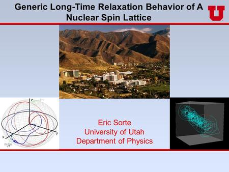 Eric Sorte University of Utah Department of Physics Generic Long-Time Relaxation Behavior of A Nuclear Spin Lattice.