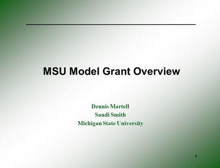 1 MSU Model Grant Overview Dennis Martell Sandi Smith Michigan State University.