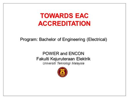 TOWARDS EAC ACCREDITATION