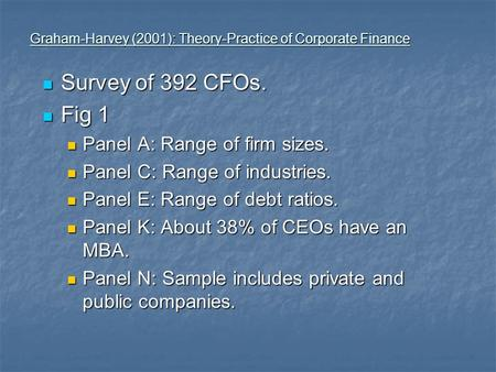 Graham-Harvey (2001): Theory-Practice of Corporate Finance