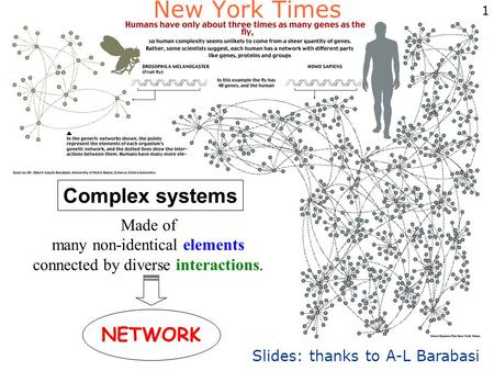1 Complex systems Made of many non-identical elements connected by diverse interactions. NETWORK New York Times Slides: thanks to A-L Barabasi.