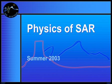 23057page 1 Physics of SAR Summer 2003. 23057page 2 Synthetic-Aperture Radar SAR Radar - Transmits its own illumination a Microwave flashlight RAdio.