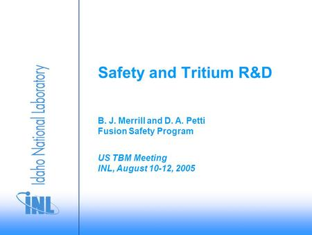 US TBM Meeting INL, August 10-12, 2005 B. J. Merrill and D. A. Petti Fusion Safety Program Safety and Tritium R&D.