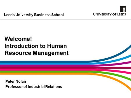 Welcome! Introduction to Human Resource Management