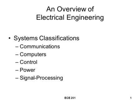 ECE 2011 An Overview of Electrical Engineering Systems Classifications –Communications –Computers –Control –Power –Signal-Processing.
