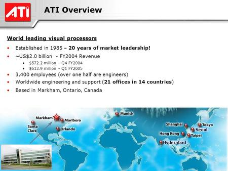 1 ATI Confidential1 ATI Overview World leading visual processors Established in 1985 – 20 years of market leadership! ~US$2.0 billion - FY2004 Revenue.