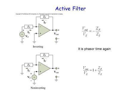 Active Filter It is phasor time again. Active Low Pass Filter Amplification: R F /R S low pass factor 1/(1+j  R F C F ) Cut off frequency:  R F C F.