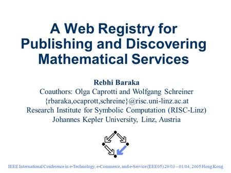 A Web Registry for Publishing and Discovering Mathematical Services IEEE International Conference in e-Technology, e-Commerce, and e-Service (EEE05) 29/03.