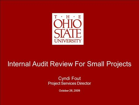 Internal Audit Review For Small Projects Cyndi Fout Project Services Director October 26, 2009.