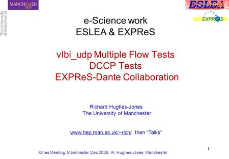Xmas Meeting, Manchester, Dec 2006, R. Hughes-Jones Manchester 1 e-Science work ESLEA & EXPReS vlbi_udp Multiple Flow Tests DCCP Tests EXPReS-Dante Collaboration.