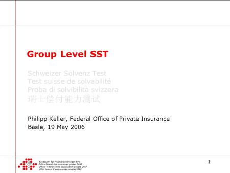 1 Philipp Keller, Federal Office of Private Insurance Basle, 19 May 2006 Group Level SST.