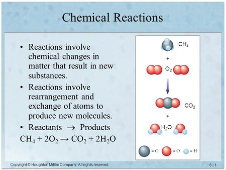 Copyright © Houghton Mifflin Company. All rights reserved. 6 | 1 Chemical Reactions Reactions involve chemical changes in matter that result in new substances.