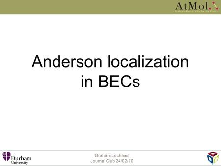 Anderson localization in BECs