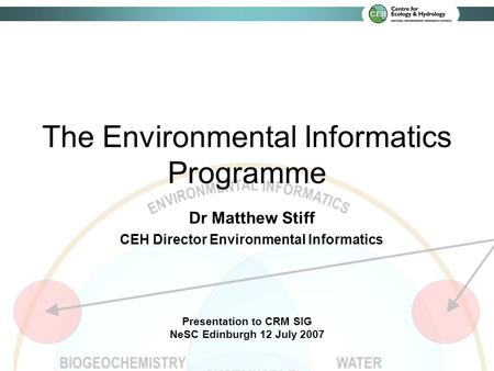 Dr Matthew Stiff CEH Director Environmental Informatics Presentation to CRM SIG NeSC Edinburgh 12 July 2007 The Environmental Informatics Programme.