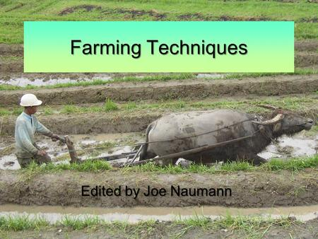 Farming Techniques Edited by Joe Naumann. Agriculture Agriculture includes both subsistence agriculture, which is producing enough food to meet the needs.