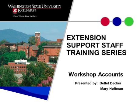 Workshop Accounts Presented by: Detlef Decker Mary Hoffman EXTENSION SUPPORT STAFF TRAINING SERIES.