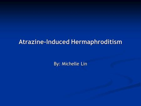 Atrazine-Induced Hermaphroditism By: Michelle Lin.