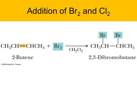 Addition of Br2 and Cl2 1.