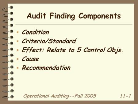 Operational Auditing--Fall 200511-1 Audit Finding Components  Condition  Criteria/Standard  Effect: Relate to 5 Control Objs.  Cause  Recommendation.