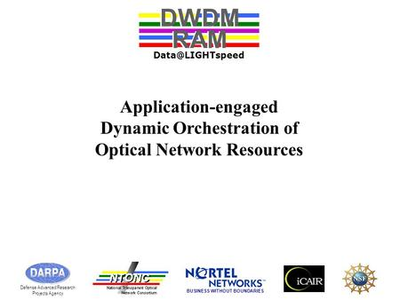 Application-engaged Dynamic Orchestration of Optical Network Resources DWDM RAM DWDM RAM Defense Advanced Research Projects Agency BUSINESS.